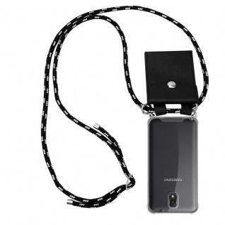Cadorabo Handy Kette für Samsung Galaxy NOTE 3 in SCHWARZ SILBER - Silikon Necklace Umhänge Hülle mit Silber Ringen, Kordel Band Schnur und abnehmbarem Etui - Schutzhülle