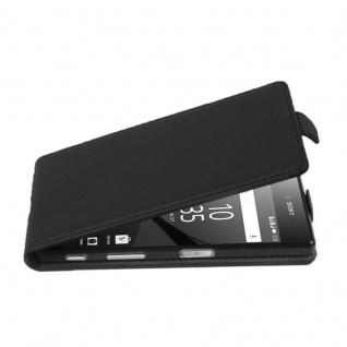 Cadorabo Hülle für Sony Xperia Z5 PREMIUM in OXID SCHWARZ - Handyhülle im Flip Design aus strukturiertem Kunstleder - Case Cover Schutzhülle Etui Tasche Book Klapp Style