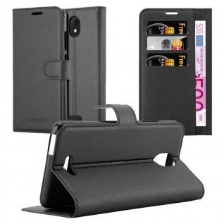 Cadorabo Hülle für WIKO VIEW GO in PHANTOM SCHWARZ Handyhülle mit Magnetverschluss, Standfunktion und Kartenfach Case Cover Schutzhülle Etui Tasche Book Klapp Style