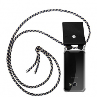 Cadorabo Handy Kette für Samsung Galaxy A5 2017 in DUNKELBLAU GELB - Silikon Necklace Umhänge Hülle mit Silber Ringen, Kordel Band Schnur und abnehmbarem Etui - Schutzhülle