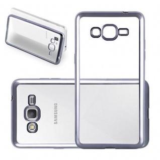 Cadorabo Hülle für Samsung Galaxy GRAND PRIME - Hülle in TRANSPARENT mit CHROM SCHWARZ ? Handyhülle aus TPU Silikon im Chrom Design - Silikonhülle Schutzhülle Ultra Slim Soft Back Cover Case Bumper