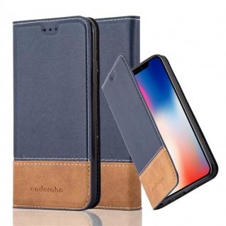 Cadorabo Hülle für Apple iPhone X / XS in BLAU BRAUN - Handyhülle mit Magnetverschluss, Standfunktion und Kartenfach - Case Cover Schutzhülle Etui Tasche Book Klapp Style