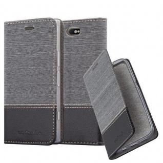 Cadorabo Hülle für Sony Xperia XZ1 COMPACT in GRAU SCHWARZ - Handyhülle mit Magnetverschluss, Standfunktion und Kartenfach - Case Cover Schutzhülle Etui Tasche Book Klapp Style