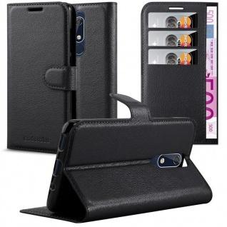 Cadorabo Hülle für Nokia 5.1 2018 in PHANTOM SCHWARZ Handyhülle mit Magnetverschluss, Standfunktion und Kartenfach Case Cover Schutzhülle Etui Tasche Book Klapp Style