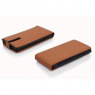 Cadorabo Hülle für Sony Xperia S in COGNAC BRAUN - Handyhülle im Flip Design aus strukturiertem Kunstleder - Case Cover Schutzhülle Etui Tasche Book Klapp Style - Vorschau 3