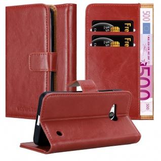 Cadorabo Hülle für Nokia Lumia 550 in WEIN ROT Handyhülle mit Magnetverschluss, Standfunktion und Kartenfach Case Cover Schutzhülle Etui Tasche Book Klapp Style