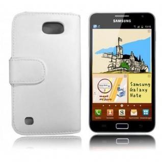 Cadorabo Hülle für Samsung Galaxy NOTE 1 in POLAR WEIß - Handyhülle aus glattem Kunstleder mit Standfunktion und Kartenfach - Case Cover Schutzhülle Etui Tasche Book Klapp Style - Vorschau 3