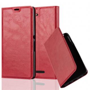 Cadorabo Hülle für Sony Xperia E3 in APFEL ROT Handyhülle mit Magnetverschluss, Standfunktion und Kartenfach Case Cover Schutzhülle Etui Tasche Book Klapp Style