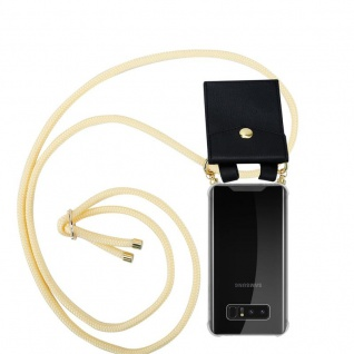 Cadorabo Handy Kette für Samsung Galaxy NOTE 8 in CREME BEIGE Silikon Necklace Umhänge Hülle mit Gold Ringen, Kordel Band Schnur und abnehmbarem Etui Schutzhülle
