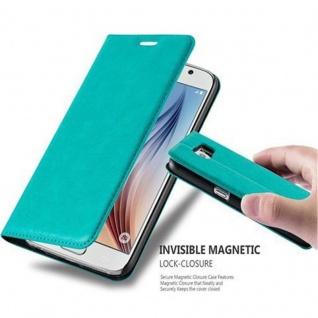 Cadorabo Hülle für Samsung Galaxy S6 in PETROL TÜRKIS Handyhülle mit Magnetverschluss, Standfunktion und Kartenfach Case Cover Schutzhülle Etui Tasche Book Klapp Style