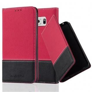 Cadorabo Hülle für Samsung Galaxy S6 in ROT SCHWARZ Handyhülle mit Magnetverschluss, Standfunktion und Kartenfach Case Cover Schutzhülle Etui Tasche Book Klapp Style