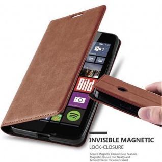 Cadorabo Hülle für Nokia Lumia 640 in CAPPUCCINO BRAUN - Handyhülle mit Magnetverschluss, Standfunktion und Kartenfach - Case Cover Schutzhülle Etui Tasche Book Klapp Style