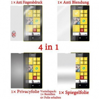 Cadorabo Displayschutzfolien für Nokia Lumia 520 - Schutzfolien in HIGH CLEAR ? 4 Folien (1x Privacy - 1x Spiegel - 1x Matt - 1x Anti-Fingerabdruck)