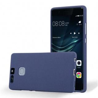 Cadorabo Hülle für Huawei P9 in FROST DUNKEL BLAU - Handyhülle aus flexiblem TPU Silikon - Silikonhülle Schutzhülle Ultra Slim Soft Back Cover Case Bumper