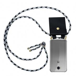 Cadorabo Handy Kette für Huawei Y6 2017 in SCHWARZ CAMOUFLAGE - Silikon Necklace Umhänge Hülle mit Gold Ringen, Kordel Band Schnur und abnehmbarem Etui ? Schutzhülle