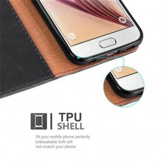 Cadorabo Hülle für Samsung Galaxy S6 in GRAPHIT SCHWARZ ? Handyhülle mit Magnetverschluss, Standfunktion und Kartenfach ? Case Cover Schutzhülle Etui Tasche Book Klapp Style - Vorschau 4