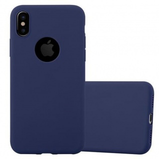 Cadorabo Hülle für Apple iPhone X / XS in CANDY DUNKEL BLAU - Handyhülle aus flexiblem TPU Silikon - Silikonhülle Schutzhülle Ultra Slim Soft Back Cover Case Bumper