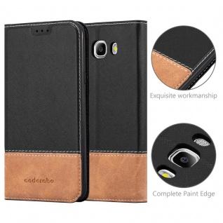 Cadorabo Hülle für Samsung Galaxy J7 2016 in SCHWARZ BRAUN - Handyhülle mit Magnetverschluss, Standfunktion und Kartenfach - Case Cover Schutzhülle Etui Tasche Book Klapp Style - Vorschau 2