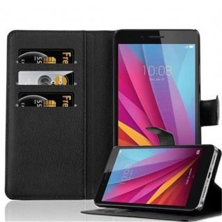Cadorabo Hülle für Honor 5X / Play 5X / Huawei GR5 in PHANTOM SCHWARZ - Handyhülle mit Magnetverschluss, Standfunktion und Kartenfach - Case Cover Schutzhülle Etui Tasche Book Klapp Style