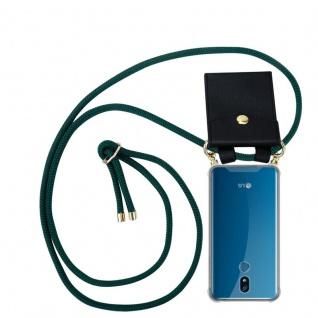 Cadorabo Handy Kette für LG K40 in ARMEE GRÜN - Silikon Necklace Umhänge Hülle mit Gold Ringen, Kordel Band Schnur und abnehmbarem Etui ? Schutzhülle