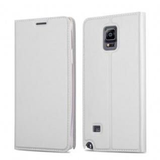 Cadorabo Hülle für Samsung Galaxy NOTE 4 in CLASSY SILBER - Handyhülle mit Magnetverschluss, Standfunktion und Kartenfach - Case Cover Schutzhülle Etui Tasche Book Klapp Style