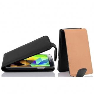 Cadorabo Hülle für Samsung Galaxy S5 MINI / S5 MINI DUOS - Hülle in OXID SCHWARZ ? Handyhülle aus strukturiertem Kunstleder im Flip Design - Case Cover Schutzhülle Etui Tasche