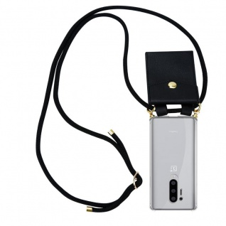 Cadorabo Handy Kette für Oneplus 8 pro in SCHWARZ Silikon Necklace Umhänge Hülle mit Gold Ringen, Kordel Band Schnur und abnehmbarem Etui Schutzhülle