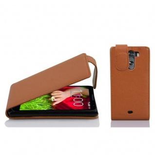 Cadorabo Hülle für LG G2 MINI - Hülle in COGNAC BRAUN ? Handyhülle aus strukturiertem Kunstleder im Flip Design - Case Cover Schutzhülle Etui Tasche