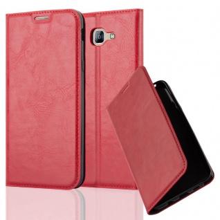 Cadorabo Hülle für Samsung Galaxy A8 2016 in APFEL ROT - Handyhülle mit Magnetverschluss, Standfunktion und Kartenfach - Case Cover Schutzhülle Etui Tasche Book Klapp Style