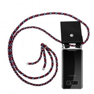 Cadorabo Handy Kette für Samsung Galaxy NOTE 8 in ROT BLAU WEISS Silikon Necklace Umhänge Hülle mit Silber Ringen, Kordel Band Schnur und abnehmbarem Etui Schutzhülle