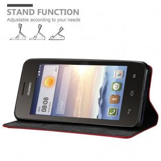 Cadorabo Hülle für Huawei Y330 in APFEL ROT Handyhülle mit Magnetverschluss, Standfunktion und Kartenfach Case Cover Schutzhülle Etui Tasche Book Klapp Style - Vorschau 3