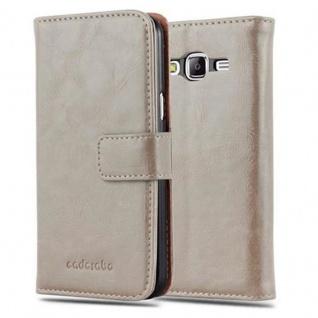 Cadorabo Hülle für Samsung Galaxy J5 2015 in CAPPUCINO BRAUN - Handyhülle mit Magnetverschluss, Standfunktion und Kartenfach - Case Cover Schutzhülle Etui Tasche Book Klapp Style