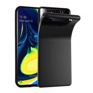 Cadorabo Hülle für Samsung Galaxy A80 / A90 in SCHWARZ - Handyhülle aus flexiblem TPU Silikon - Silikonhülle Schutzhülle Ultra Slim Soft Back Cover Case Bumper