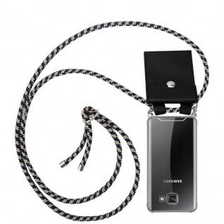 Cadorabo Handy Kette für Samsung Galaxy A5 2016 in DUNKELBLAU GELB - Silikon Necklace Umhänge Hülle mit Silber Ringen, Kordel Band Schnur und abnehmbarem Etui - Schutzhülle