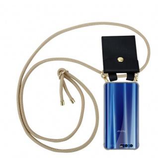 Cadorabo Handy Kette für Honor 9 in GLÄNZEND BRAUN Silikon Necklace Umhänge Hülle mit Gold Ringen, Kordel Band Schnur und abnehmbarem Etui Schutzhülle