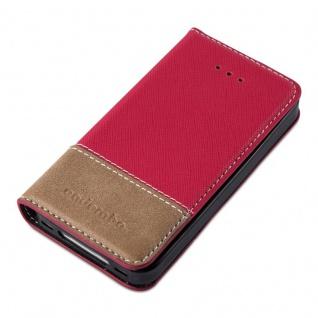 Cadorabo Hülle für Apple iPhone 4 / iPhone 4S in ROT BRAUN ? Handyhülle mit Magnetverschluss, Standfunktion und Kartenfach ? Case Cover Schutzhülle Etui Tasche Book Klapp Style