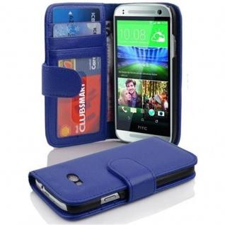 Cadorabo Hülle für HTC ONE M8 MINI (2.Gen.) in NEPTUN BLAU - Handyhülle mit Magnetverschluss und 3 Kartenfächern - Case Cover Schutzhülle Etui Tasche Book Klapp Style