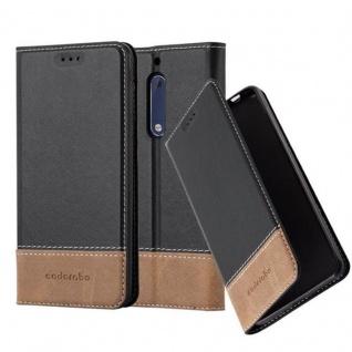 Cadorabo Hülle für Nokia 5 2017 in SCHWARZ BRAUN Handyhülle mit Magnetverschluss, Standfunktion und Kartenfach Case Cover Schutzhülle Etui Tasche Book Klapp Style