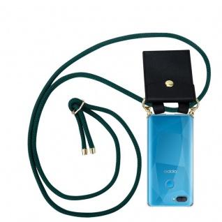 Cadorabo Handy Kette für Oppo A12 in ARMEE GRÜN Silikon Necklace Umhänge Hülle mit Gold Ringen, Kordel Band Schnur und abnehmbarem Etui Schutzhülle