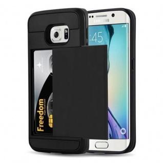 Cadorabo Hülle für Samsung Galaxy S6 EDGE - Hülle in TRESOR SCHWARZ - Handyhülle mit verstecktem Kartenfach - Hard Case TPU Silikon Schutzhülle für Hybrid Cover