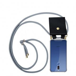 Cadorabo Handy Kette für Huawei MATE 10 LITE in SILBER GRAU - Silikon Necklace Umhänge Hülle mit Gold Ringen, Kordel Band Schnur und abnehmbarem Etui ? Schutzhülle