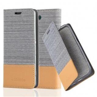 Cadorabo Hülle für Sony Xperia Z3 COMPACT in HELL GRAU BRAUN - Handyhülle mit Magnetverschluss, Standfunktion und Kartenfach - Case Cover Schutzhülle Etui Tasche Book Klapp Style