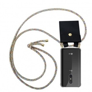 Cadorabo Handy Kette für LG Q9 in RAINBOW - Silikon Necklace Umhänge Hülle mit Gold Ringen, Kordel Band Schnur und abnehmbarem Etui ? Schutzhülle