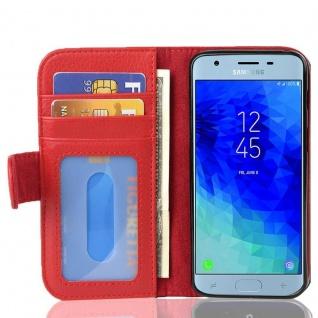 Cadorabo Hülle für Samsung Galaxy J3 2017 in INFERNO ROT - Handyhülle mit Magnetverschluss und 3 Kartenfächern - Case Cover Schutzhülle Etui Tasche Book Klapp Style