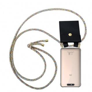 Cadorabo Handy Kette für ZTE Blade V8 in RAINBOW - Silikon Necklace Umhänge Hülle mit Gold Ringen, Kordel Band Schnur und abnehmbarem Etui ? Schutzhülle