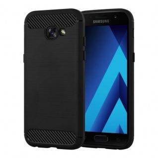 Cadorabo Hülle für Samsung Galaxy A3 2017 - Hülle in BRUSHED SCHWARZ ? Handyhülle aus TPU Silikon in Edelstahl-Karbonfaser Optik - Silikonhülle Schutzhülle Ultra Slim Soft Back Cover Case Bumper