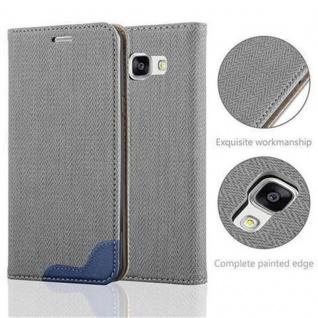 Cadorabo Hülle für Samsung Galaxy A5 2016 - Hülle in GRAU BLAU ? Handyhülle in Bast-Optik mit Kartenfach und Standfunktion - Case Cover Schutzhülle Etui Tasche Book Klapp Style - Vorschau 2