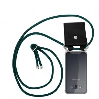 Cadorabo Handy Kette für Samsung Galaxy J5 2015 in ARMEE GRÜN - Silikon Necklace Umhänge Hülle mit Silber Ringen, Kordel Band Schnur und abnehmbarem Etui - Schutzhülle