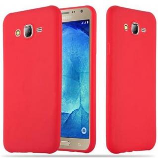 Cadorabo Hülle für Samsung Galaxy J7 2015 in CANDY ROT - Handyhülle aus flexiblem TPU Silikon - Silikonhülle Schutzhülle Ultra Slim Soft Back Cover Case Bumper