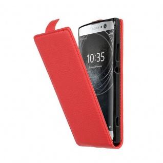Cadorabo Hülle für Sony Xperia XA2 in INFERNO ROT - Handyhülle im Flip Design aus strukturiertem Kunstleder - Case Cover Schutzhülle Etui Tasche Book Klapp Style